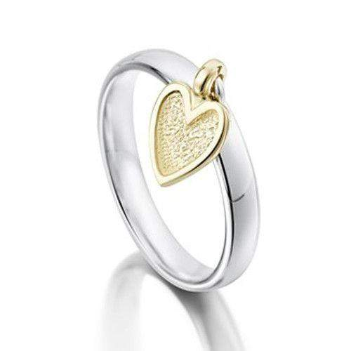 Heart Silver and Gold Ring - GR0138