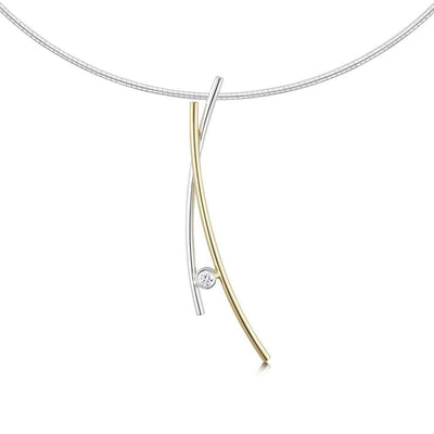Sheila Fleet Kiss Gold and Silver Necklace - GS-DNX188-Ogham Jewellery