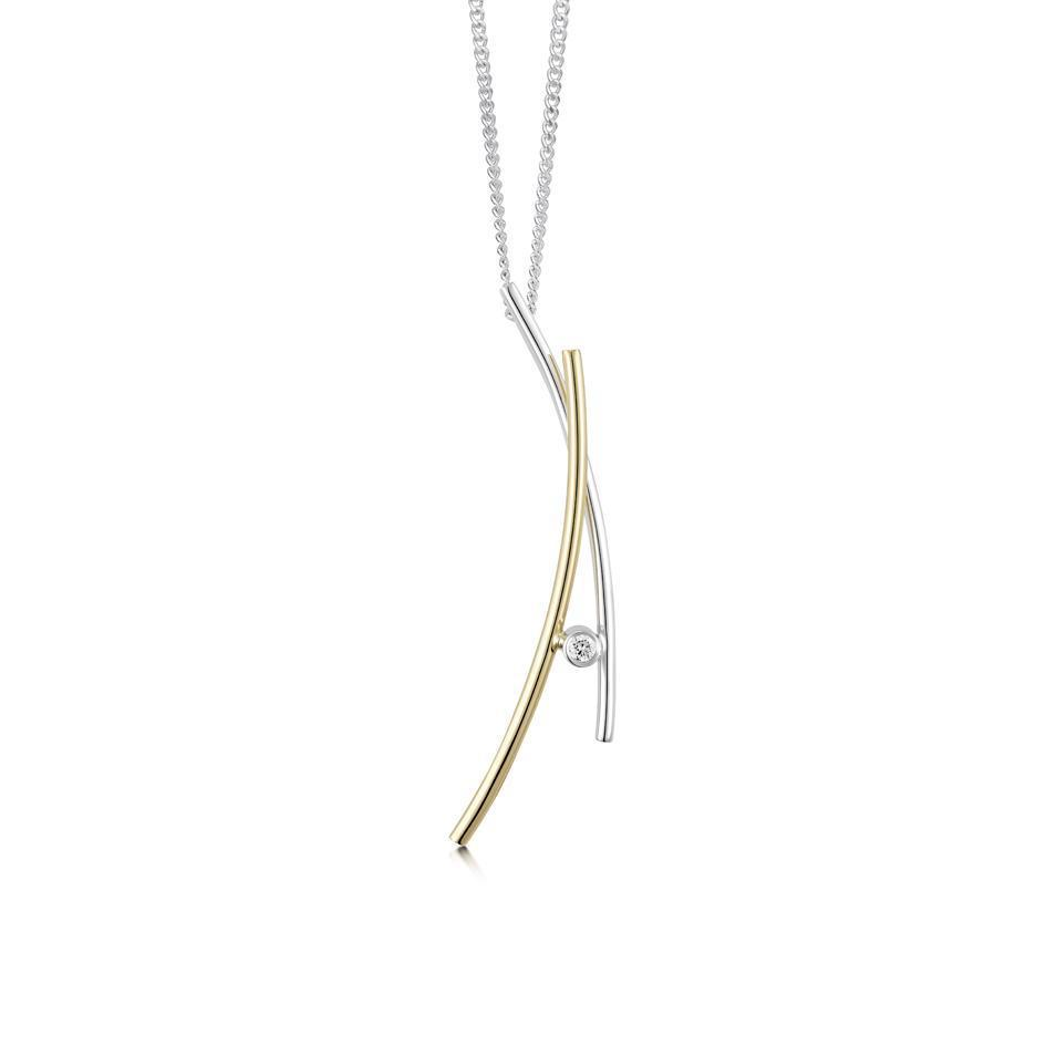 Sheila Fleet Kiss Gold and Silver Pendant - GS-DP188-Ogham Jewellery