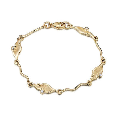Sheila Fleet River Ripples Gold Bracelet - DBL088-Ogham Jewellery
