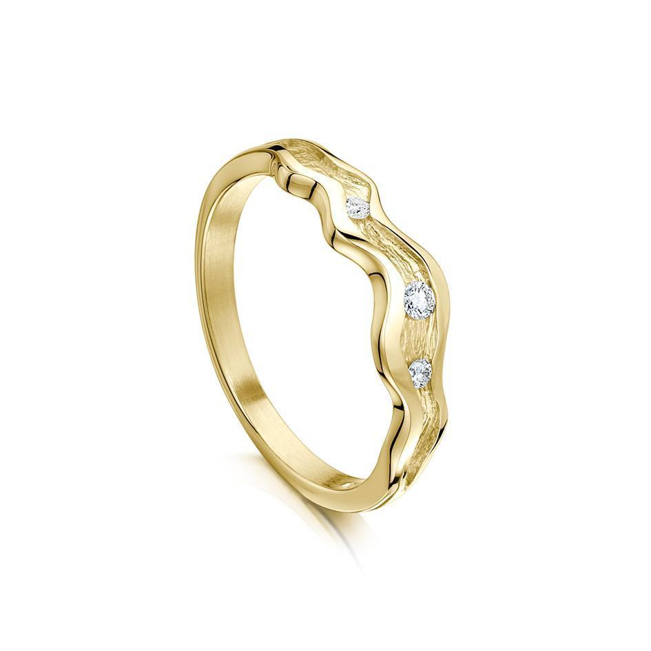 Sheila Fleet River Ripples Ring in Gold, Platinum or Palladium - DR87-Ogham Jewellery