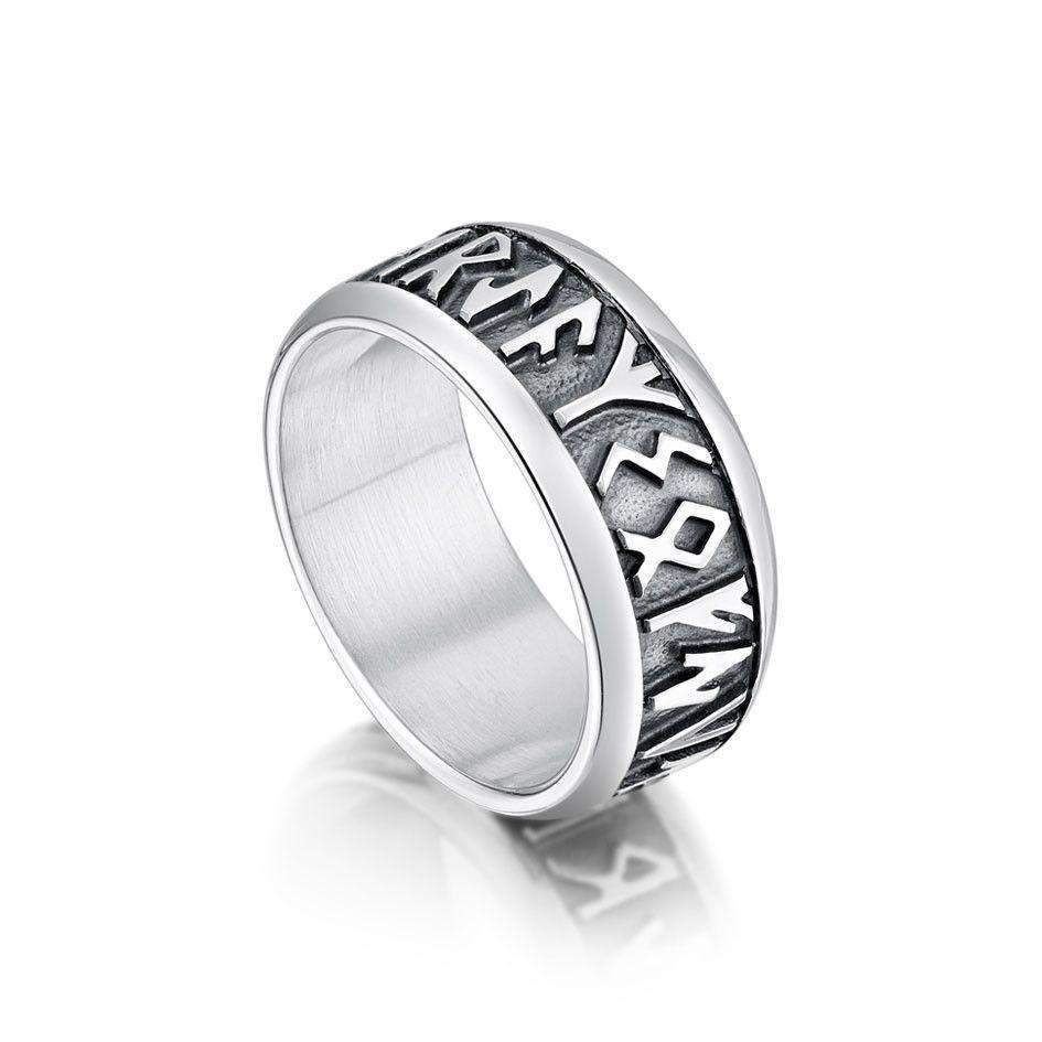 Runic Ring Silver, Gold, Platinum, Palladium - Sizes Q-W1/2 - RX34