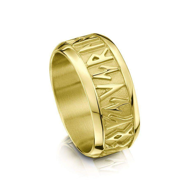Runic Ring Silver, Gold, Platinum, Palladium - Sizes X-Z+5 - RX34
