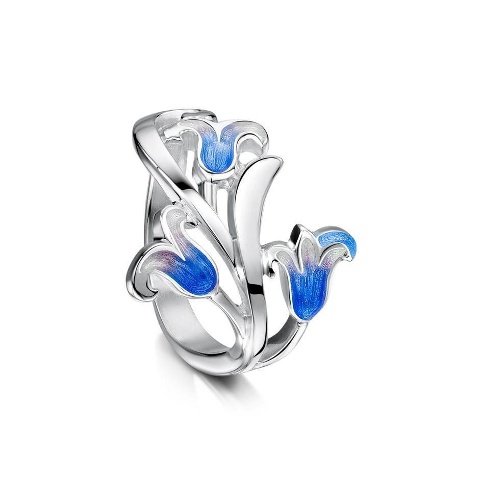 Silver And Enamel Bluebell Ring - ER241