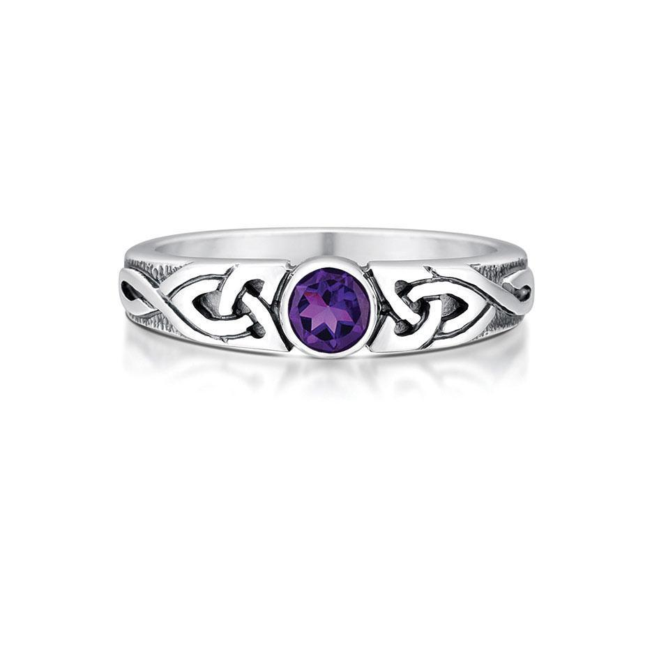 Sterling Silver And Gemstone Celtic Knotwork Ring (various gemstones) - SR80