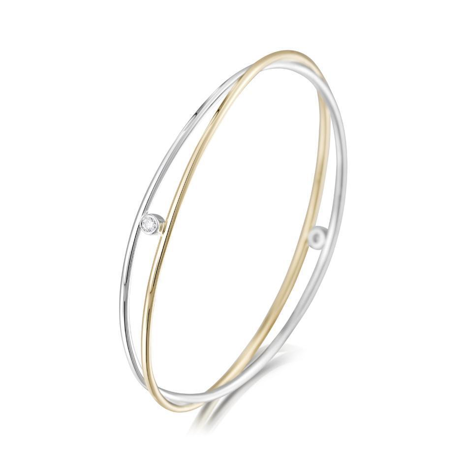 Sheila Fleet Silver and Gold Kiss Bangle - GS-SBL188-Ogham Jewellery