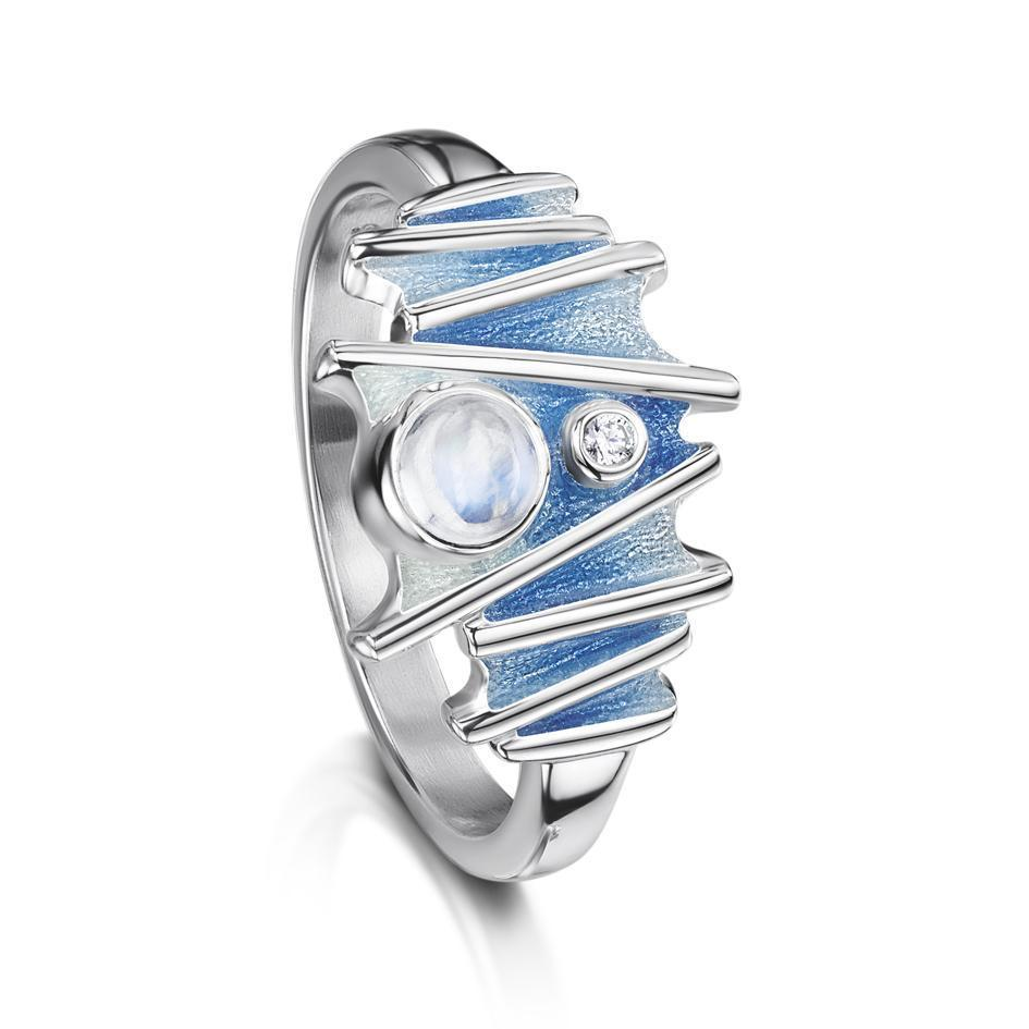 Moonlight Sterling Silver and Enamel Moonstone Ring - ESR149
