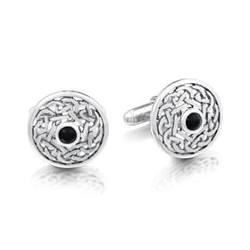 Sheila Fleet Silver and Onyx Cufflinks - SCL11-Ogham Jewellery