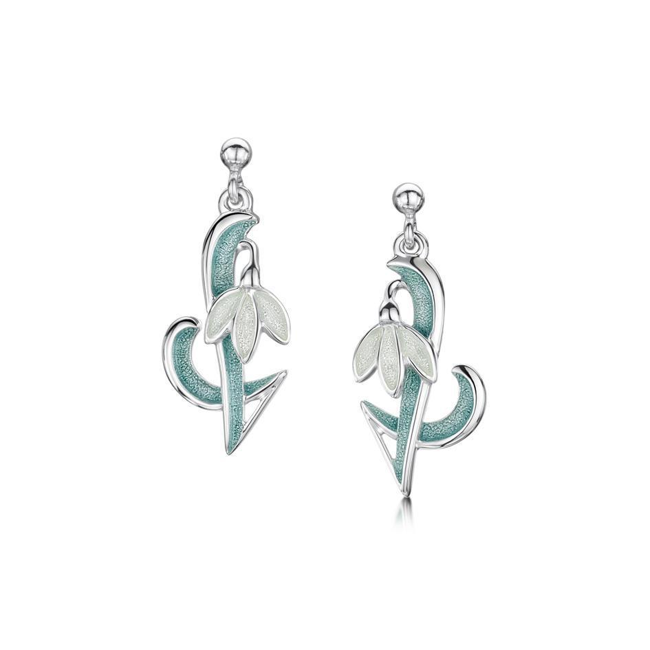 Sheila Fleet Silver & Enamel Snowdrop Earrings - EEX226-Ogham Jewellery