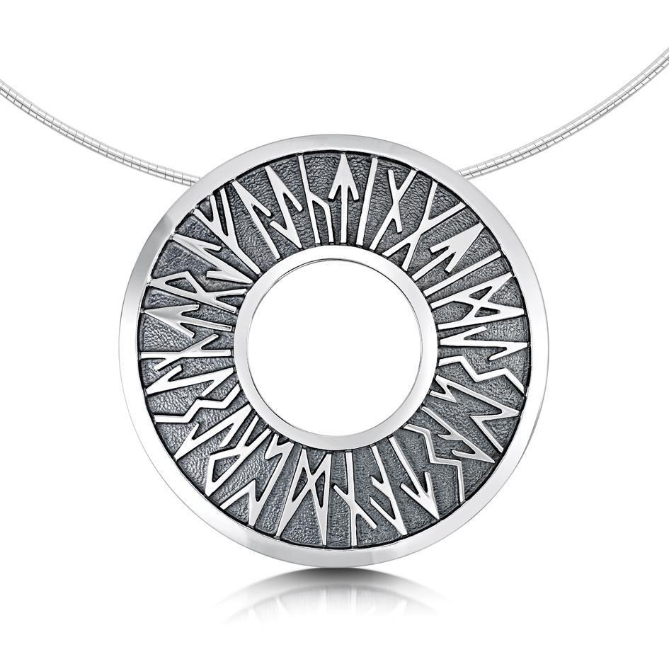 Sheila Fleet Silver Runic Necklace - NX34-Ogham Jewellery