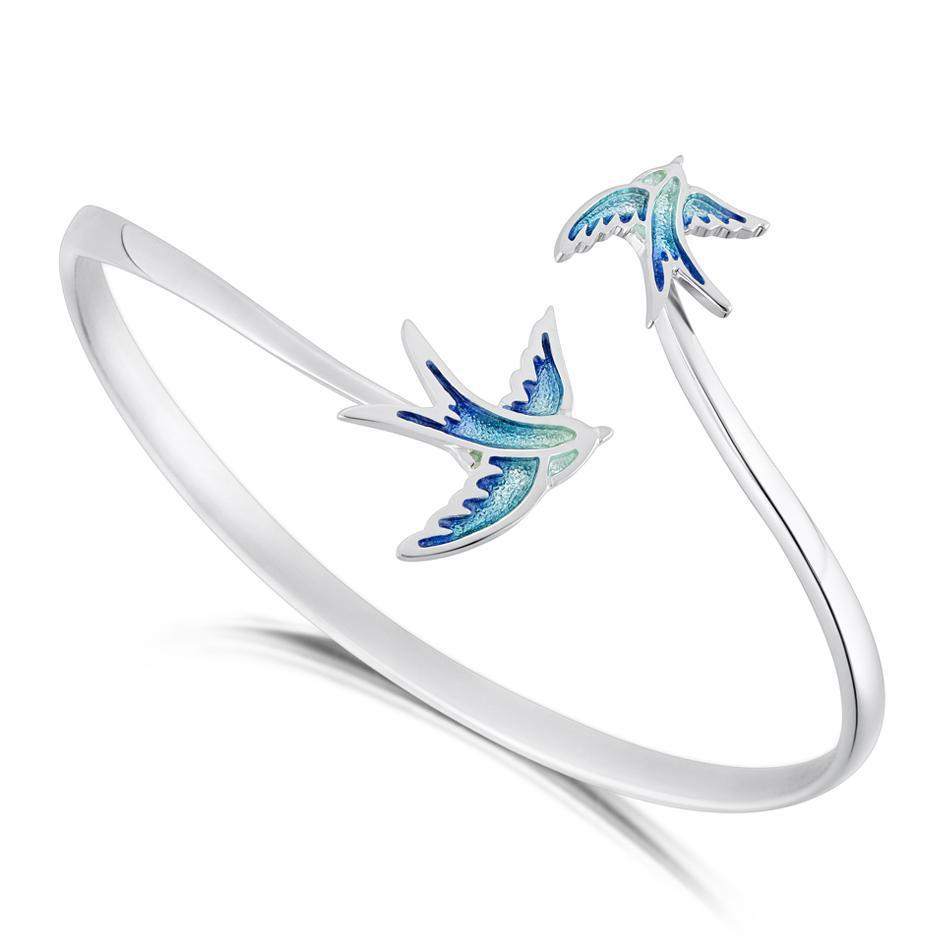 Sheila Fleet Swallows Bangle - EBLX198-Ogham Jewellery