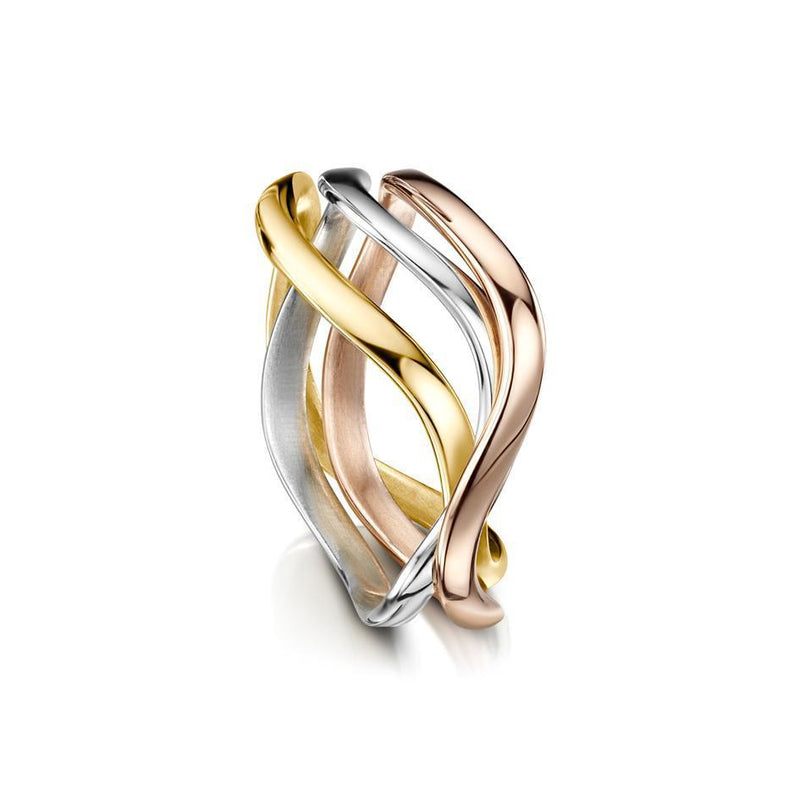 Sheila Fleet Three Coloured Gold Tidal Ring - WYRR160-Ogham Jewellery