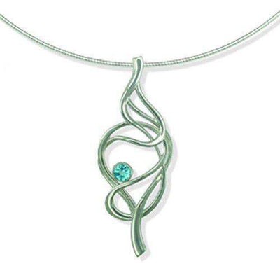 Silver or Gold Tidal Necklace - Moonstone, Blue Topaz or Peridot SNXX155-Ogham Jewellery