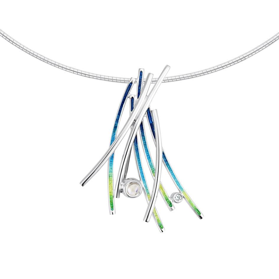 Sheila Fleet Wild Grasses Silver and Enamel Necklet - ESNX187-Ogham Jewellery