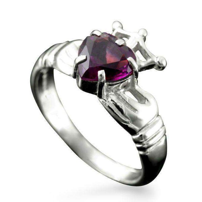 Shetland Gemstone Set Claddagh Ring - R152-Ogham Jewellery