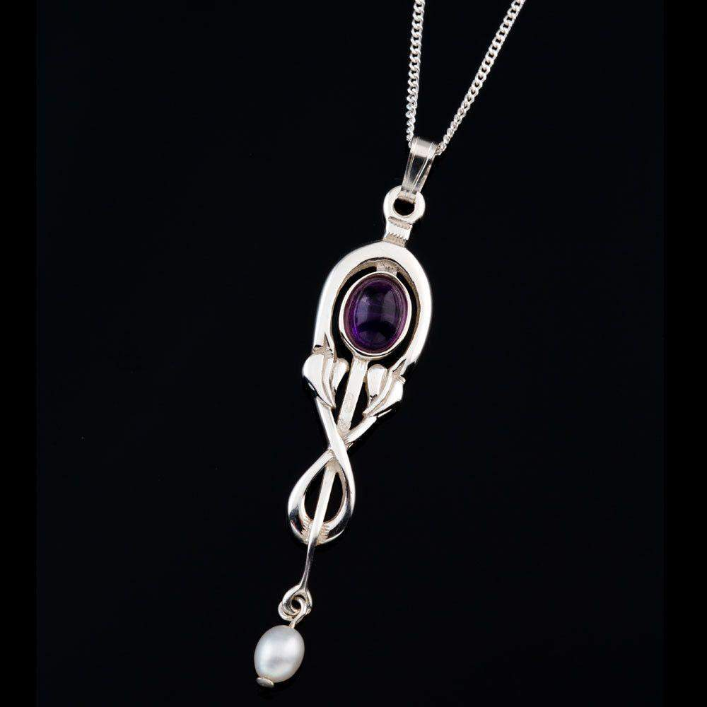 Shetland Glasgow Girls Sterling Silver Or Gold Amethyst Pendant - GP260-s-g-Ogham Jewellery