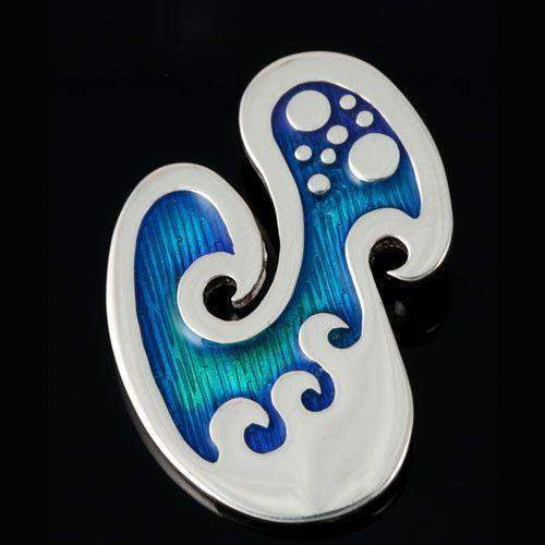 Seascape Silver And Enamel Wavy Brooch-Ogham Jewellery