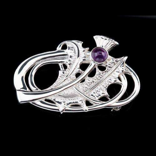 Shetland Jewellery, Silver or Gold Amethyst Thistle Brooch B324-Ogham Jewellery