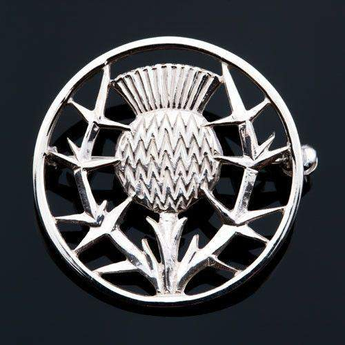 Shetland Jewellery, Silver or Gold Thistle Brooch B42-Ogham Jewellery