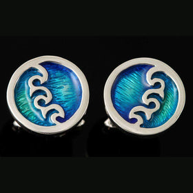 Shetland Silver And Enamel Seascape Round Wave Cufflinks - SSC11-Ogham Jewellery