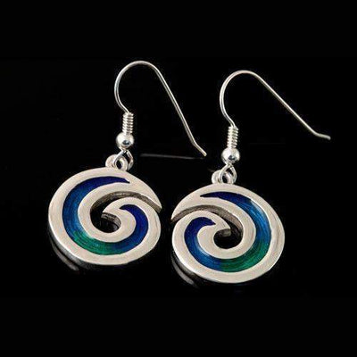 Shetland Silver And Enamel Wave Earrings SSE22D-Ogham Jewellery