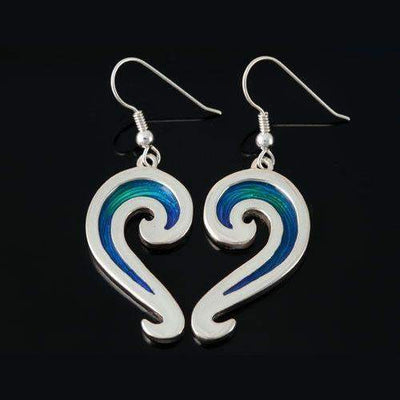 Shetland Silver And Enamel Wave Earrings SSE33-Ogham Jewellery