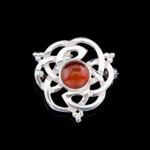 Shetland Silver or Gold Amber Celtic Brooch - AB130-Ogham Jewellery