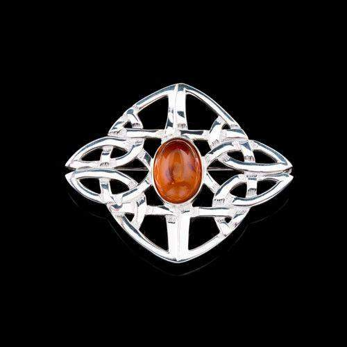 Shetland Silver Or Gold Amber Celtic Brooch AB142-Ogham Jewellery