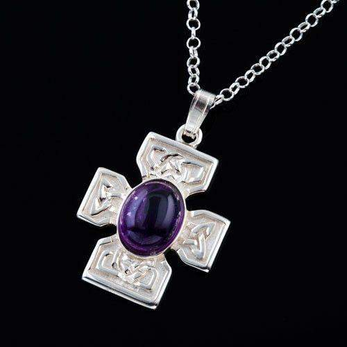 Shetland Silver or Gold Amethyst Celtic Cross AP294A-Ogham Jewellery