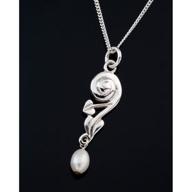 Shetland Silver or Gold Pearl Pendant GP200P-Ogham Jewellery