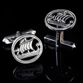 Shetland Silver Or Gold Viking Ship Cufflinks - C9-s-Ogham Jewellery