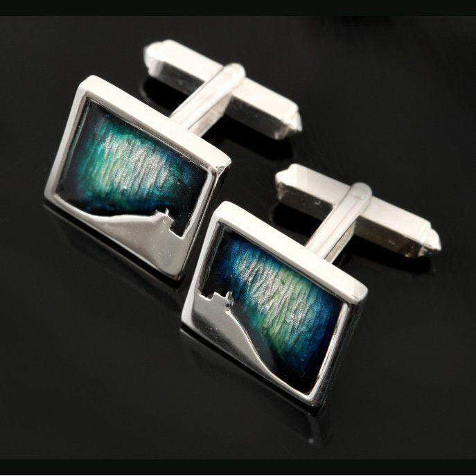 Shetland Sterling Silver And Enamel Mirrie Dancers Small Square Cufflinks - MDC21-Ogham Jewellery