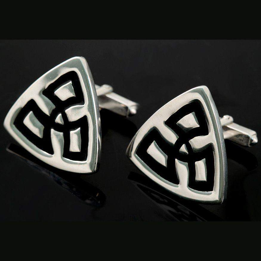 Shetland Sterling Silver And Enamel Triquetra Triangle Cufflinks - C790-Ogham Jewellery