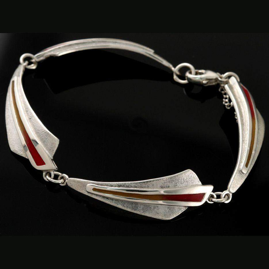 Shetland Sterling Silver Celtic Fire Two Tone Bracelet -CFBR03-CF-Ogham Jewellery