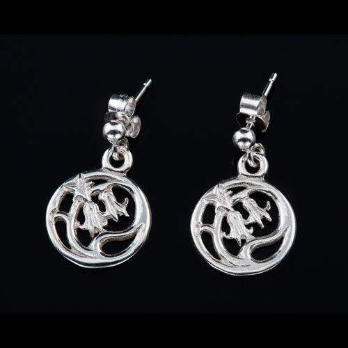 Shetland Sterling Silver or Gold Bluebell Earrings-E253-Ogham Jewellery