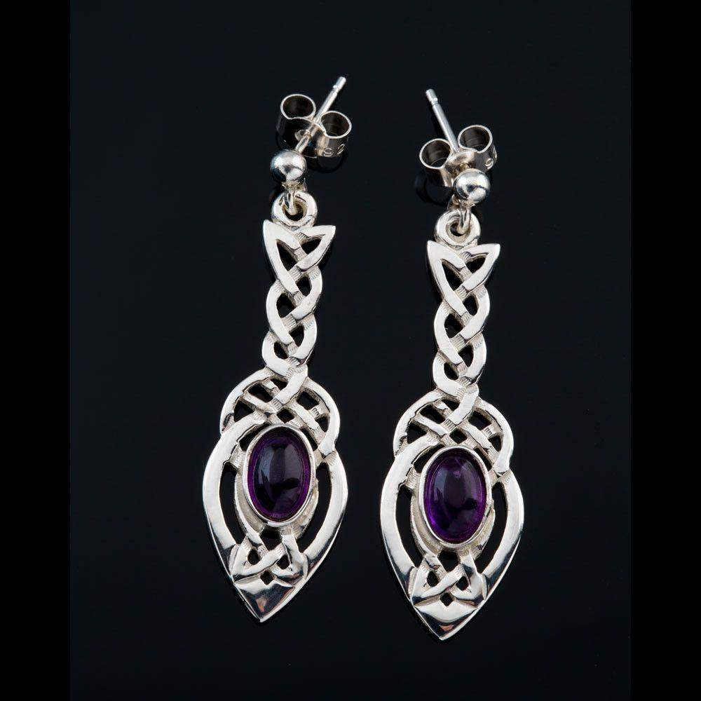 Shetland Sterling Silver Or Gold Celtic Amethyst Earrings - E801/A-S-Ogham Jewellery