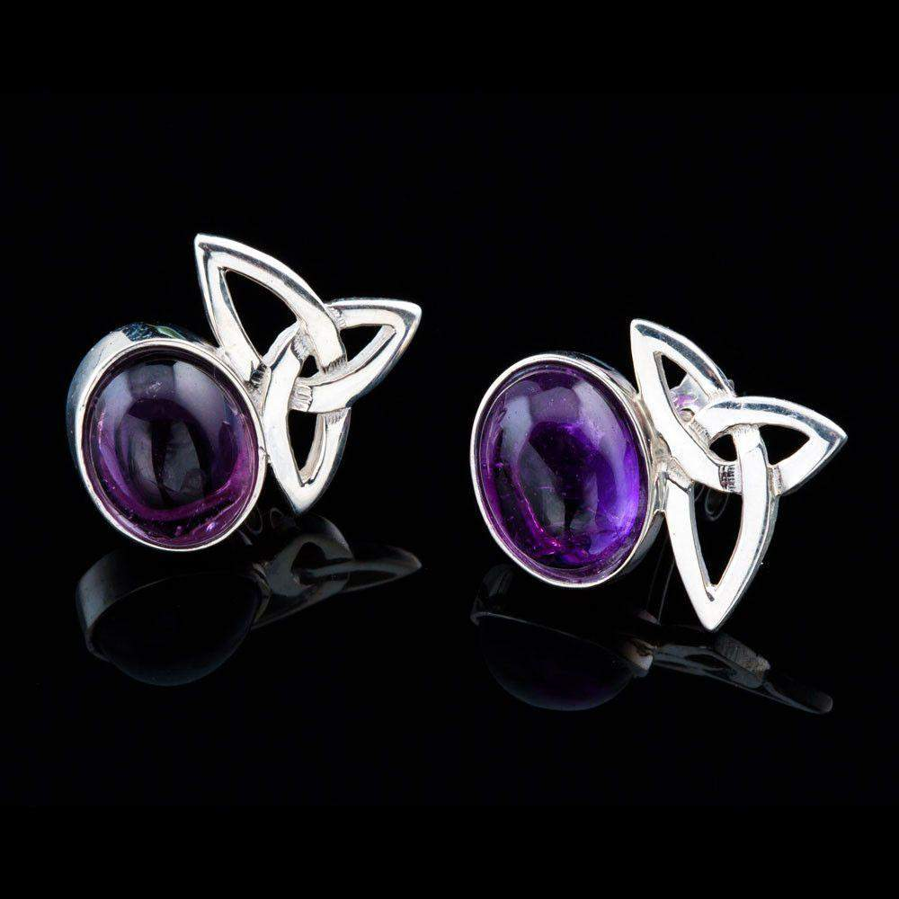 Shetland Sterling Silver Or Gold Celtic Amethyst stud Earrings - AE100/A-S-Ogham Jewellery