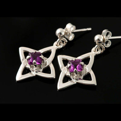 Shetland Sterling Silver Or Gold Celtic Amethyst Stud Or Drop Earrings - E993/A-S-D-Ogham Jewellery