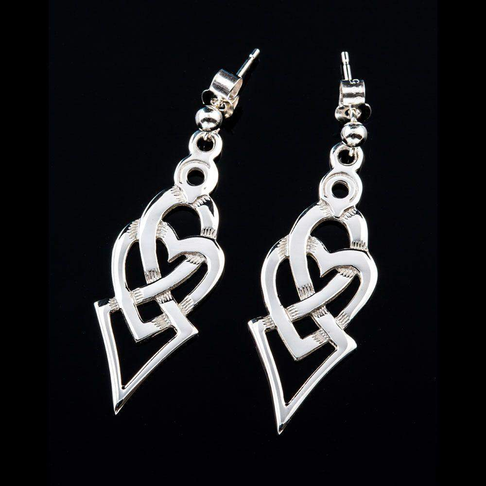 Shetland Sterling Silver Or Gold Celtic Heart Drop Earrings - E720-s-Ogham Jewellery