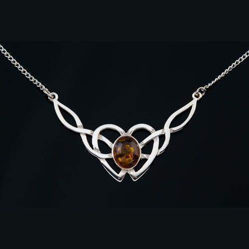 Sterling Silver or Gold Celtic Necklace With Amber - AP120