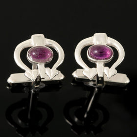 Shetland Sterling Silver Or Gold Glasgow Girls Amethyst Cufflinks - GC170-s-a-Ogham Jewellery