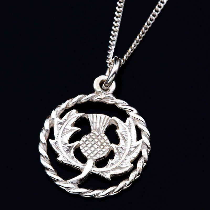 Sterling Silver Or Gold Round Twist Thistle Pendant - P323-s