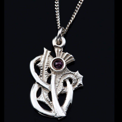 Shetland Sterling Silver Or Gold Scottish Thistle Amethyst Pendant - P325-s-Ogham Jewellery
