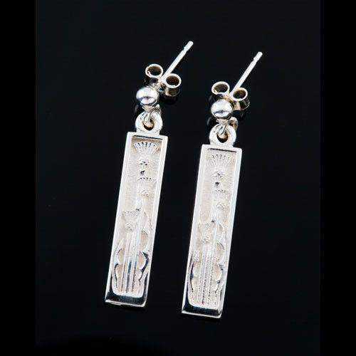 Shetland Sterling Silver or Gold Thistle Earrings-E321-Ogham Jewellery