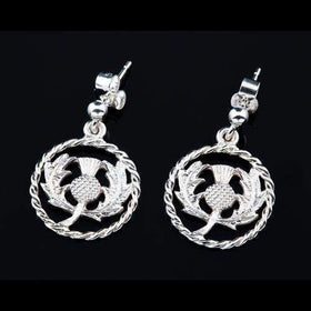 Shetland Sterling Silver or Gold Thistle Earrings-E323-Ogham Jewellery
