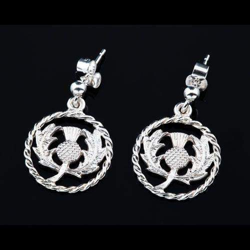 Sterling Silver or Gold Thistle Earrings - E323