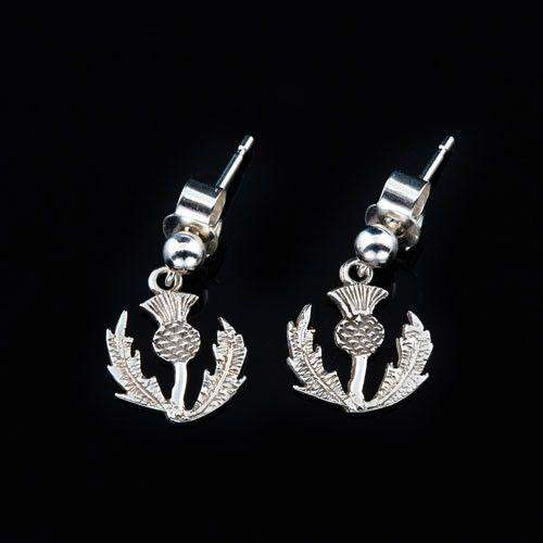 Shetland Sterling Silver or Gold Thistle Earrings-E32-Ogham Jewellery