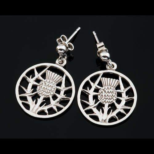 Shetland Sterling Silver or Gold Thistle Earrings-E422D-Ogham Jewellery