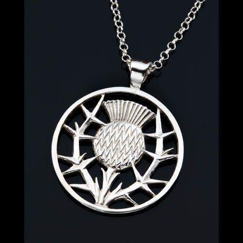 Shetland Sterling Silver 0r Gold Thistle Pendant P42-Ogham Jewellery