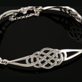 Shetland Sterling Silver Or Gold Three Celtic Knot Bracelet - BR472-s-Ogham Jewellery